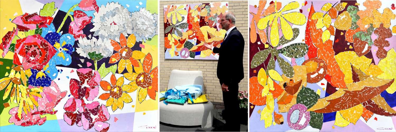 Onthulling van het kunstwerk door Burgemeester van Hoogeveen, Dhr. Karel Loohuis.